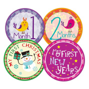 Blulu Baby Monthly Holiday Stickers Newborn Gift, 26 Pieces