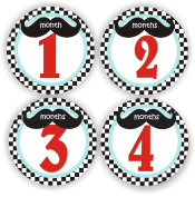 Baby Stickers - Moustache Baby Month Stickers - Baby Shower Stickers - Includes 1-12 Months Stickers