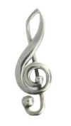 Sterling Silver Treble Clef With Inner Scroll Brooch Pin