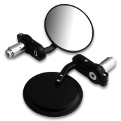 JAMBO Custom Motorcycle Billet Aluminium 2.2cm Handlebar Bar End Rearview Black Side Mirror 7.6cm For Triumph Buell Norton Aprilia BMW