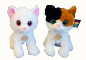 25cm Sparkle Eyed Cat, 2 assorted colours, 1 sent at random.