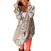 Arrowhunt Women's Knitted Drape Front Sweater Aztec Long Sleeve Striped Cardigan