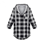 Arrowhunt Womens Plaid Boyfriend Checked Long Sleeve Tunic Hooded Blouse
