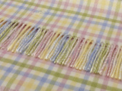 Lambswool Baby Blanket Throw - GINGHAM PASTEL cheque