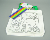 Childs Linen Colour in Bag with Felt Pens With Cow and Flowers