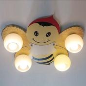 Kid's Room Cartoon Wooden Bee Ceiling Lamp Creative Baby Room Ceiling Lamps Boy Girl Room Ceiling Light Fixture