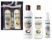 Inecto Naturals COCONUT Hair GIFT SET Shampoo, Conditioner 500ml each & Hair Oil 100ml - 90% Natural & Not Tested on Animals.Vegan friendly.