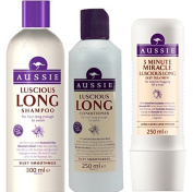 Aussie Luscious Long 3 MINUTE MIRACLE GIFT SET Shampoo 300ml + Conditoner 250ml + 3 Minute Miracle Deep Conditioning Treatment 250ml + FREE AUSSIE HOT WATER BOTTLE