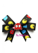 Dolly Cool Pac Man Retro Arcade Geeky Hair Bow Clip Black