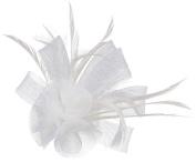 Orien Women Girls Flowers Feather Fascinator Clip Headband Brooch Pin Headwear Wedding Decor White