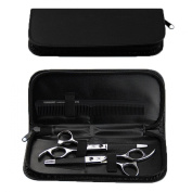 KING DO WAY Leather Barber Shears Hairdressing Haircut Scissors Organiser Zipper Pouch Bag Black