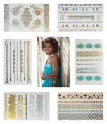 Gold and Silver Fashion Metallic Temporary Jewellery Tattoos - 6 LARGE SHEETS MULTIPACK sheets of temporary gold and silver flash tattoos, perfect for parties (as pictured), body art, body make-up