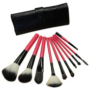 Evelots 10 Piece Cosmetic Makeup Brush Set With Diamond Pattern Case,Pink/Black