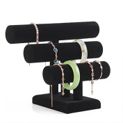 HerZii 3 Tier Black Velvet T-Bar Barcelet Necklace Watch Jewellery Rack Stand Organiser Holder Display