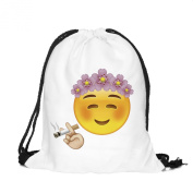Teenage University Kids 38cm Drawstring White Polyester Emoji Sports Travel School Gym Backpack