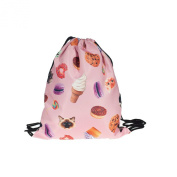 Travel Sports Polyester 3D Digital Cats Sweet Print,38cm Drawstring Style School Gym Backpack
