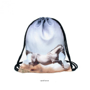 Travel Sports Polyester 3D Digital Sand Horse Print,38cm Drawstring Style School Gym Backpack