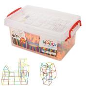 BESTIM INCUK 300-Piece Plastic Straw Connectors Kit Building Construction Straws & Connectors Set Building Blocks Educational Toy Gift for Kids