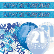 Blue Glitz 21st Birthday Banner Party Decoration Pack Kit Set