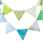 3.2M Aqua Rural rural style Vintage Fabric Flag Buntings Wedding Birthday Party Decoration