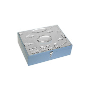 Silver Plated Baby Boy's Blue Keepsake Box