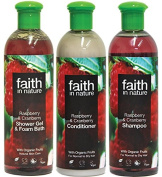 Faith In Nature Raspberry & Cranberry Shampoo, Conditioner & Shower Gel Trio