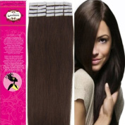 Style 46cm 100% Real Human Hair Tape-In Human Hair Extensions Straight Hair Colour 02-Dark Brown 40g Beauty Design Salon