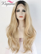 K'ryssma Natural Looking Ombre Blonde Wavy Dark Roots Long Synthetic Hair Lace Front Wigs for Women Heat OK Half Hand Tied Wig 60cm