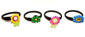 4 pcs Small Flowers With Stems Set of Releasable Ponytail Holder Elastic Rubber Stretchable No-slip Hair Tie