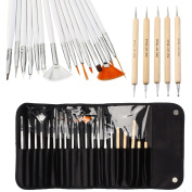 ONE1X 20pcs Nail Art Designing Painting Dotting Detailing Pen Brushes Bundle Tool Kit