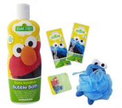 Sesame Street Bath Bundle - Extra Sensitive Bubble Bath, Fizzy Tub Colours & Character Pouffe