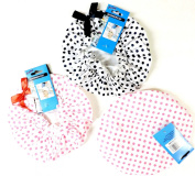 3 Pack Premium Lined Shower Cap Black and Pink Polka Dot Prints with Bow