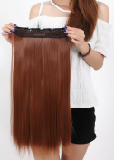 Beauti-gant Clip in Extensions Synthetic Hair-pieces Half Full Head 60cm Curly 5 Clips 140G,Light Auburn