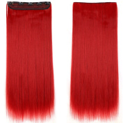 Beauti-gant Clip in Extensions Synthetic Hair-pieces Half Full Head 60cm Curly 5 Clips 140G,Dark Red