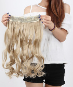 Beauti-gant Clip in Extensions Synthetic Hair-pieces Half Full Head 43cm Curly 5 Clips 140G,Ash Blonde