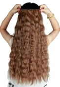 S-noilite 60cm Corn Wave Curly 3/4 Full Head Clip in Synthetic Hair Extensions One Piece 140g