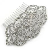 Bridal/ Wedding/ Prom/ Party Art Deco Style Rhodium Plated Austrian Crystal Hair Comb - 95mm W