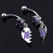 Set of Best Friend Heart Dangle Navel Belly Button Ring Piercing Purple Tone