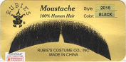Rubies Basic Character Moustache BLACK - no. 2015 - REALISTIC! 100% Human Hair