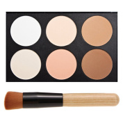 FiveBull Professional 6 Warm Colour Cosmetic Foundation Concealer Camouflage Contour Makeup Palette Set Face Contouring Kit with Makeup Brushes