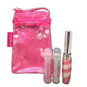 Lip Smacker Lip Balm Gloss 3 Piece Set with Glitter Cosmetic Tote Bag