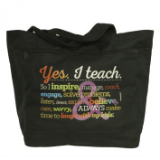Teacher Peach Yes I Teach Jumbo Rainbow Black Tote