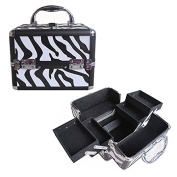 BerucciTM Professional Zebra 20cm Lightweight Aluminium Makeup Artist Organiser Kit with 4 Extendable Trays, Aluminium Trimming, Lock and Keys, and Shoulder Strap