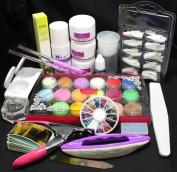 Birthday Gift! 19 in 1 Professional Acrylic Nail Art Brush Buffer Tool Nail Tips Glue Acrylic Powder Buffer Block Sanding Files Beauty Salon DIY Tools Set Kits #8023