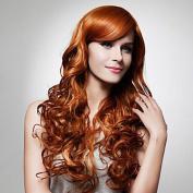 Gao Wensi hair dark brown long curly hair wig trade hot explosion oblique bangs