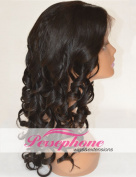 Persephone Natural Looking Curly Human Hair Lace Front Wigs For African American Women Brazilian Remy Hair Replacement Wig With Baby Hair 130% Density 41cm Colour #1B
