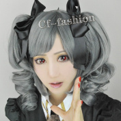 the Idol Master Ranko Kanzaki Grey Short Wave Clip on Ponytails Cosplay Wig