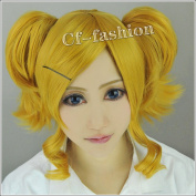 Cf-fashion Seraph of the End Mitsuba Sanguu Flax Gold Short Curly Clip on Ponytails Cosplay Wig