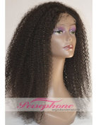 Persephone Kinkys Curly 100% Human Hair Lace Front Wigs For Black Women Glueless Brazilian Remy Hair Replacement Wig With Baby Hair 150% Density 30cm Colour #1B