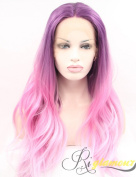 Riglamour Long Pink Wig Purple Roots Ombre Cosplay Lace Front Synthetic Wigs for Girls and Women Heat Resistant 100% Fibre Hair 2 Tone Colour Body Wave